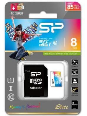 Карта памяти Silicon Power 8GB micro SD Class 10 COLOR + адаптер