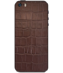 Кожаная наклейка Brown Croco для iPhone 5S/SE