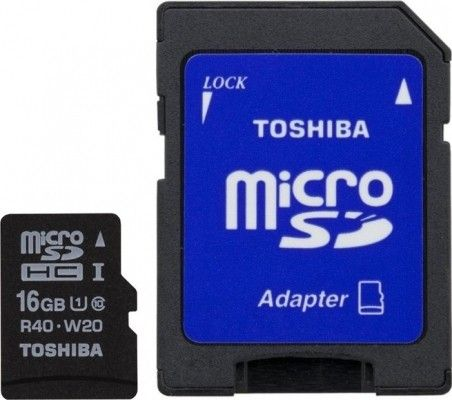 Карта памяти Toshiba 16 GB microSDHC Class 10 UHS-I + SD adapter SD-C016UHS1