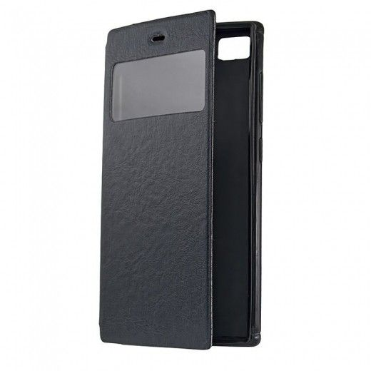 Чехол-книжка со смарт окошком МК Samsung J200 Black