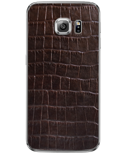 Кожаная наклейка Dark Brown Croco для Samsung Galaxy S6 edge + (G928)