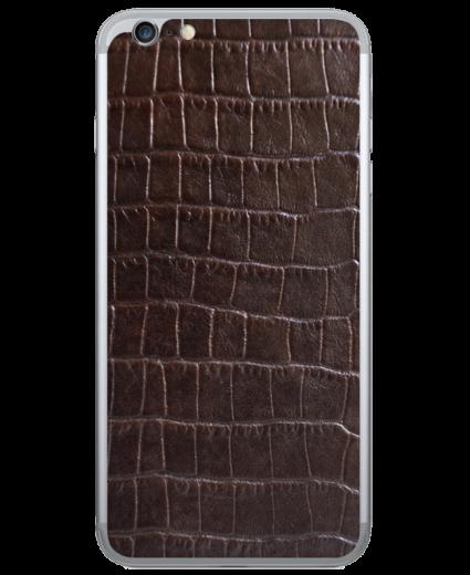 Кожаная наклейка Dark Brown Croco для iPhone 6/6S