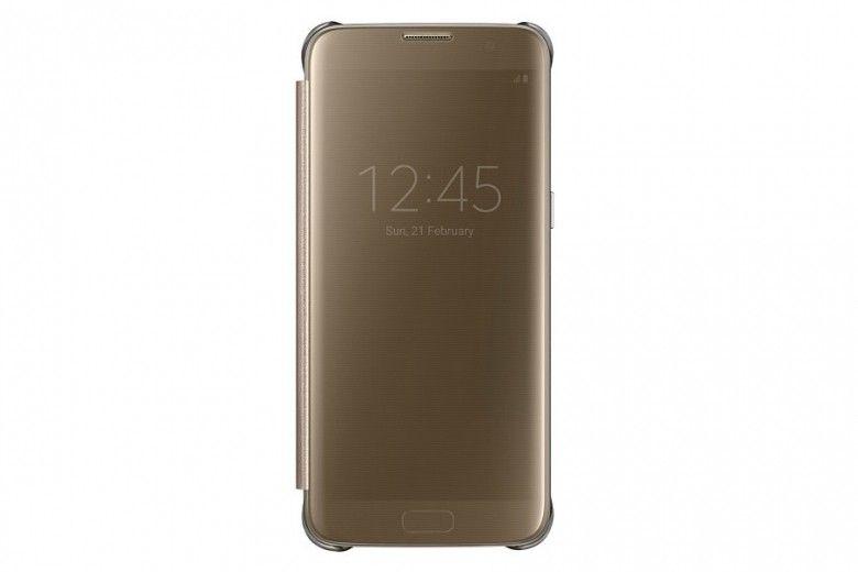 Чехол Samsung Clear View Cover для Galaxy S7 Edge Gold (EF-ZG935CFEGRU)