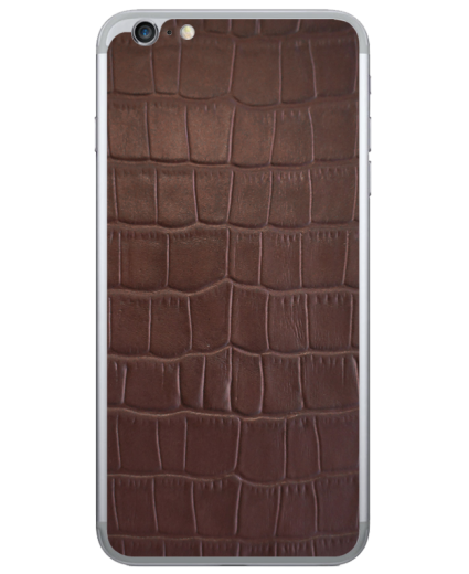 Кожаная наклейка Brown Croco для iPhone 6 Plus