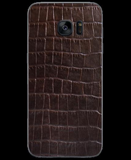 Кожаная наклейка Dark Brown Croco для Samsung Galaxy S7 (G930)