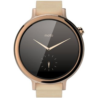 Смарт часы Motorola Moto 360 2nd Generation Smartwatch 42mm Stainless Steel with Rose Gold Leather Strap