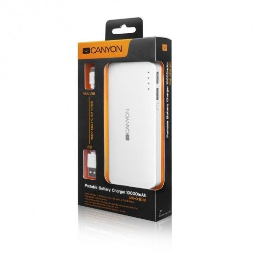 Портативная батарея CANYON H2CNECPB100W 10000 mAh White