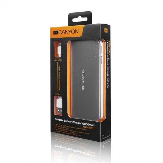 Портативная батарея CANYON H2CNECPB100DG 10000 mAh Dark Grey