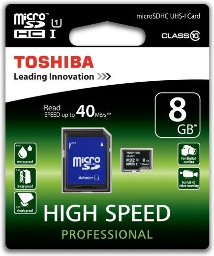 Карта памяти Toshiba 8 GB microSDHC Class 10 UHS-I + SD adapter SD-C008UHS1(6A)