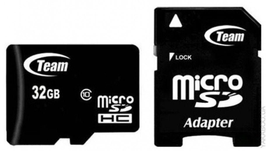 Карта памяти Team 32 GB Micro SD UHS-1 сlass 10 + адаптер