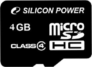 Карта памяти Silicon Power micro SDHC 4Gb class 4