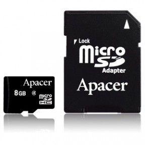 Карта памяти Apacer 8 GB microSD Class 4 + SD adapter AP8GMCSH4-R