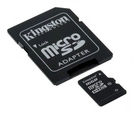 Карта памяти Kingston MicroSDHC 16GB Class 10 + SD-adapter (SDC10/16GB)