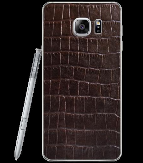 Кожаная наклейка Dark Brown Croco для Samsung Galaxy Note 5 (N920)