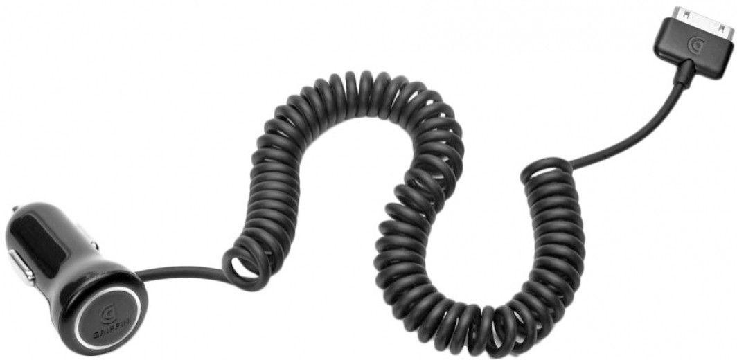 Автомобильное зарядное устройство Griffin PowerJolt SE Lightning Fixed Coiled cable (GC36547) Black