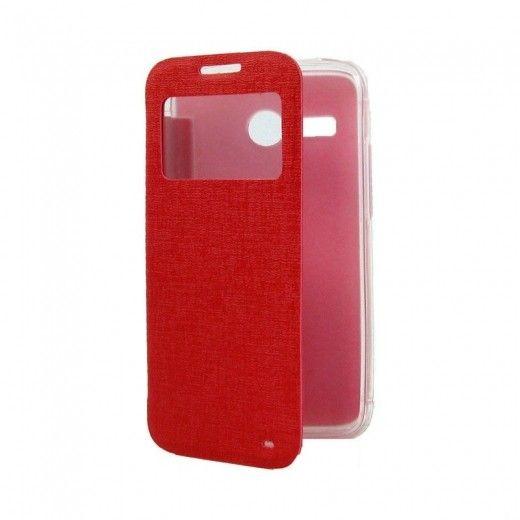 Чехол-книжка со смарт окошком МК Samsung J200 Red