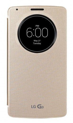 Чехол LG QuickWindow для LG G3 D855 Gold (CCF-345G.AGEUGD)