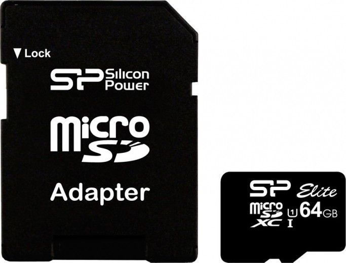 Карта памяти Silicon Power microSDXC 64 GB Class 10 UHS-I Elite + ad (SP064GBSTXBU1V10-SP)