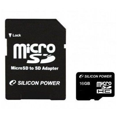 Карта памяти Silicon Power micro SDHC Card 16GB Class 4 + SD adapter
