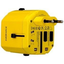 Сетевое зарядное устройство MOMAX 1 World USB Travel Adapter AC port (UK/EU/US/JP/CN/AU) Yellow (UA1Y)