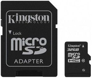 Карта памяти Kingston MicroSDHC 32GB Class 10 + SD-adapter (SDC10/32GB)
