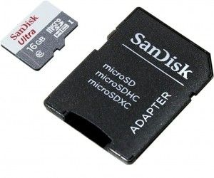 Карта памяти SanDisk Ultra microSDHC UHS-I 16GB + SD-adapter (SDSQUNB-016G-GN3MA)