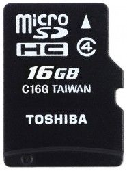 Карта памяти Toshiba High Speed Standard microSDHC 16GB Class 4 + SD-adapter (THN-M102K0160M2)