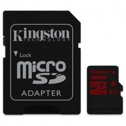 Карта памяти Kingston MicroSDHC 32GB Class 10 UHS-I U3 + SD-adapter (SDCA3/32GB)