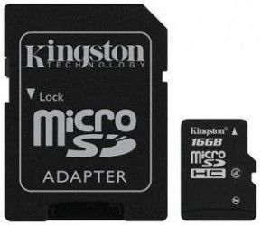 Карта памяти Kingston 16 GB microSD class 4 + SD Adapter SDC4/16GB