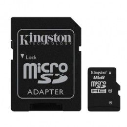 Карта памяти Kingston MicroSDHC 8GB Class 10 + SD-adapter (SDC10/8GB)