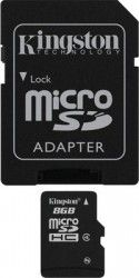 Карта памяти Kingston micrоSDHC 8Gb +SD (SDC4/8GB)