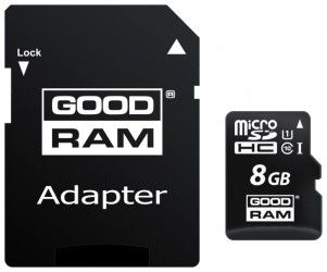 Карта памяти GOODRAM 8GB Micro SD UHS-1 + адаптер (M1AA-0080R11)