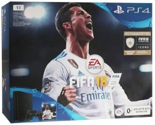Игровая приставка Sony PlayStation 4 Slim 1TB Black (CUH-2108B) Bundle + игра FIFA 18 (PS4)