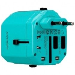 Сетевое зарядное устройство MOMAX 1 World USB Travel Adapter AC port (UK/EU/US/JP/CN/AU) Blue (UA1B2)